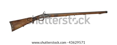 Middle range hunting rifle of 19th century isolated on white