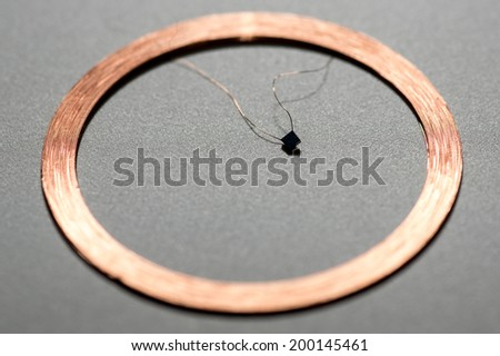 middle round RFID Antenna copper coil gray Background - stock photo