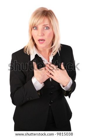 Middleaged business woman surprised - stock photo