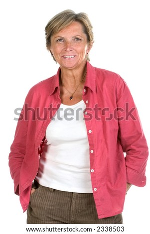 Middleaged smiling woman posing on white background - stock photo