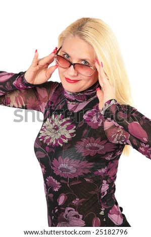 Middleaged woman in glasses - stock photo