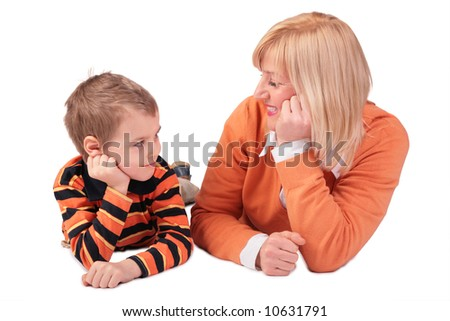 Middleaged woman with boy lying 2