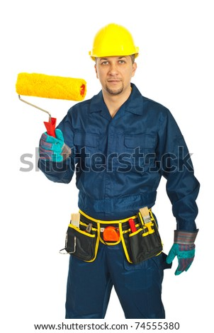 Midf adult worker man in unifrom holding paint roller isolated on white background - stock photo