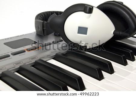 Midi keyboard close up, Piano roll - stock photo