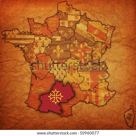Midi-Pyr?n?es on old map of france with flags of administrative divisions