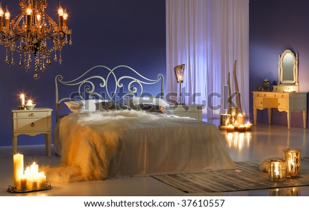 midnight bedroom - stock photo