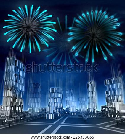 Midnight firework explosions over modern skyscraper city illustration - stock photo