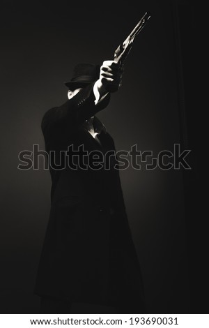 Midnight gangster in vintage look. Midnight killer - stock photo