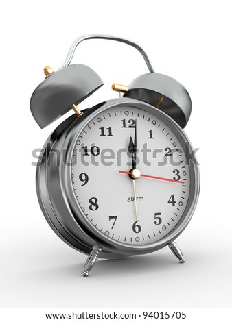 Midnight. Old-fashioned alarm clock on white background. 3d - stock photo