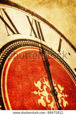 midnight on vintage clock - stock photo