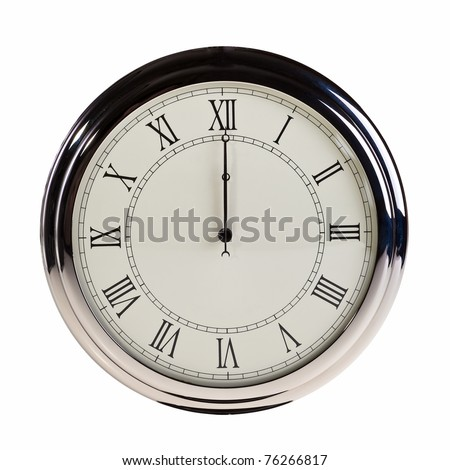 Midnight or noon on retro watch isolated over white background. - stock photo