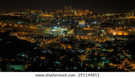 Midnight panorama of Jerusalem city, Israel