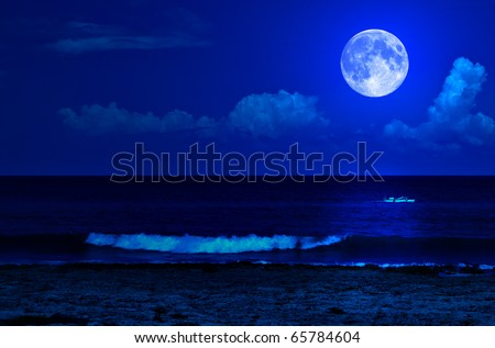 Midnight sea landscape with a full moon and waves breaking on the beach - stock photo