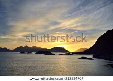 Midnight Sun in Lofoten islands, Norway - stock photo