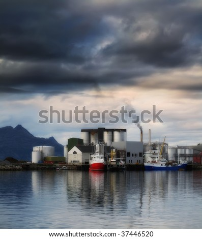 Midnight sun in the harbor of Body - stock photo