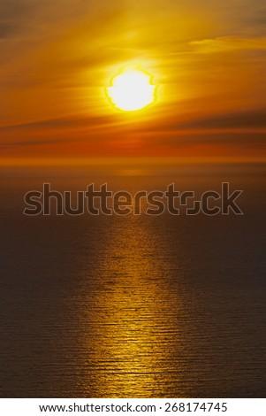 Midnight sun on Lofoten islands in arctic Norway during polar day - stock photo