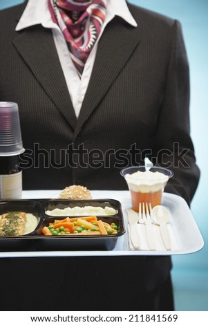 Midsection of stewardess holding tray with airplane food - stock photo