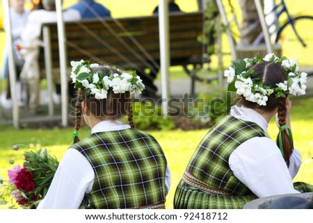 Midsummer eve festival in Jurmala in Latvia in Eastern Europe - stock photo