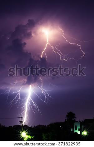 Midsummer lightning  - stock photo