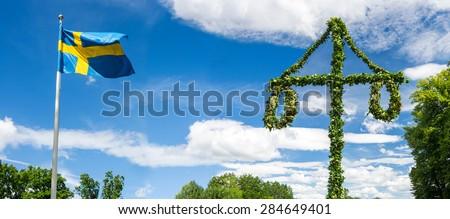 Midsummer traditional Swedish symbols - stock photo