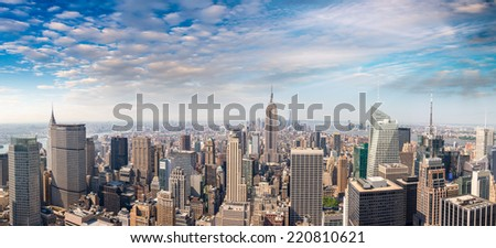 Midtown and Lower Manhattan aerial view on a beautiful sunny day - New York. - stock photo