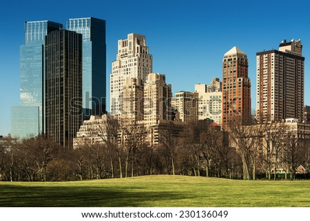 Midtown buildings from Central Park, New York City - stock photo