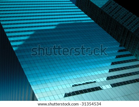 Midtown Manhattan Building with reflection of surrounding buildings. - stock photo