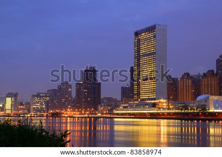 Midtown Manhattan buildings including the UN Headquarters viewed from Roosevelt Island in New York, NY. - stock photo