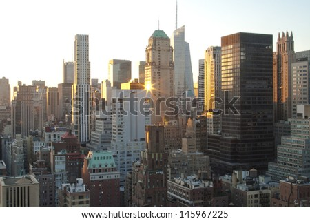 Midtown Manhattan, New York at Sunset - stock photo