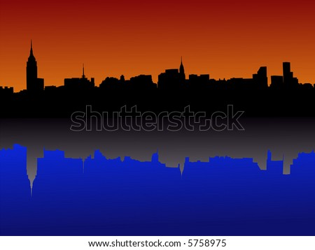 Midtown manhattan New York City skyline at dusk reflected in water JPG - stock photo