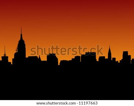 Midtown Manhattan skyline at sunset  JPEG - stock photo