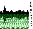 Midtown Manhattan skyline Happy St Patricks day with shamrocks illustration JPEG - stock vector