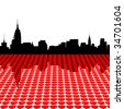 Midtown Manhattan skyline happy valentines day with hearts illustration JPEG - stock photo