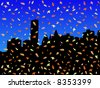 Midtown Manhattan skyline in autumn with falling leaves JPG - stock vector