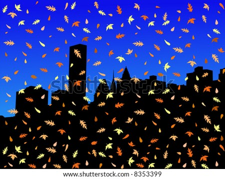 Midtown Manhattan skyline in autumn with falling leaves JPG