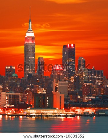 Midtown Manhattan skyline, New York City - stock photo