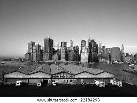 Midtown Manhattan skyline on a Clear Blue day, black and white - stock photo