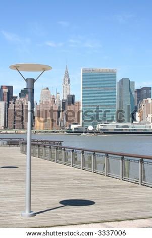 Midtown Manhattan skyline on a Clear Blue day, New York City - stock photo