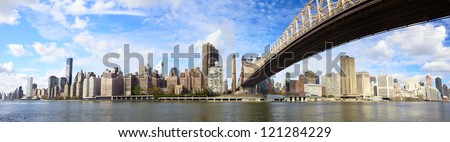 Midtown Manhattan skyline panorama with Queensboro Bridge, New York City - stock photo