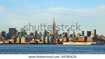 Midtown Manhattan skyline with landmark buildings in New York City. - stock photo