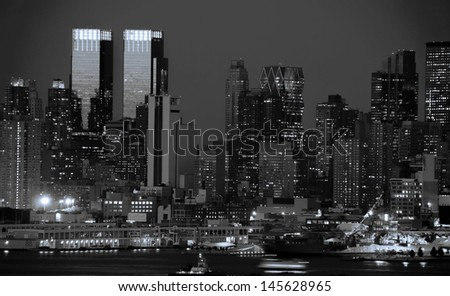 midtown new york city black and blue tone - stock photo