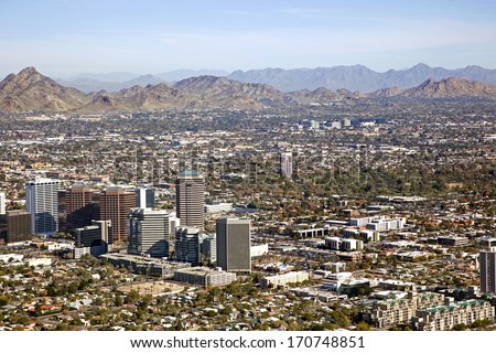 Midtown Skyline of Phoenix, Arizona looking to the northeast - stock photo