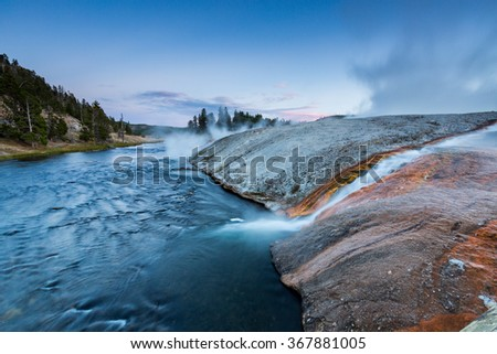 Midway Geyser Basin in Yellowstone National Park, USA - stock photo