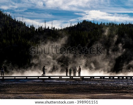 Midway Geyser Basin, Yellowstone National Park - stock photo