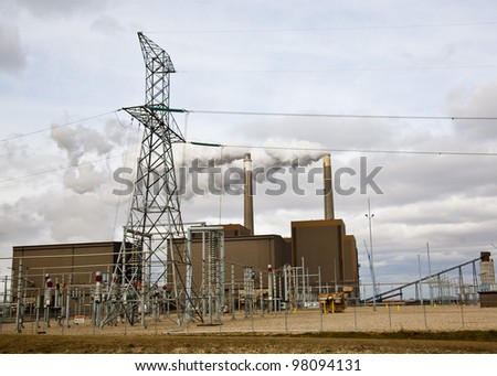 Midwest power plant - stock photo