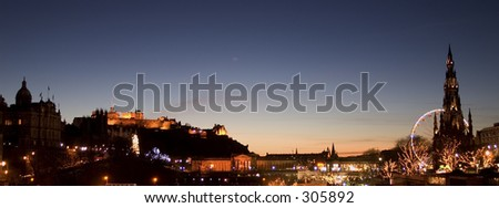 Midwinter Edinburgh skyline with sunset