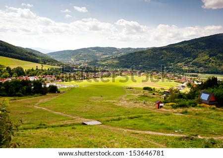 miedzybrodzie zywieckie - little city in beskidy mountains in Poland. In a center of photo mountain airfield for gliders near Zar mountain