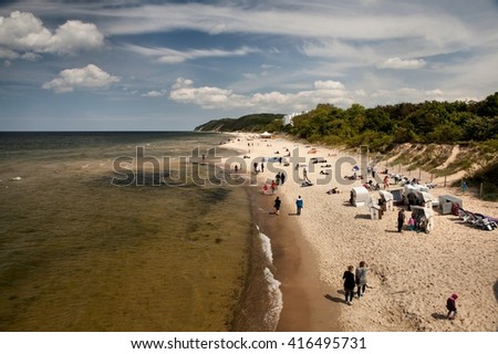 MIEDZYZDROJE, POLAND-JUNI 23, 2015: Miedzyzdroje is a town and a seaside resort in northwestern Poland on the island of Wolin on the Baltic coast. - stock photo
