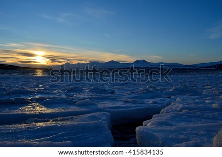 Mighty and majestic sunny landscape in northern Norway, Tromsoe - stock photo