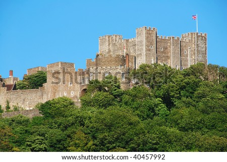 Mighty castle on the hill above Dover, United Kingdom - stock photo